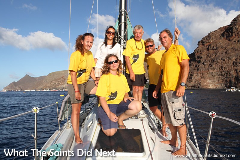 Visiting with the crew on Black Cat, anchored in James Bay, enjoying a rest after winning the St Helena Governor's Cup Yacht Race. Back row L-R: Cathleen Hughes, me, Adrian Pearson, Shaun Cooper and Dave 'Wavy' Immelman. Front: Sophie Pages.