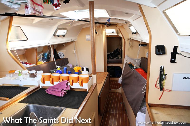 Inside the open space cabin of yacht Black Cat.