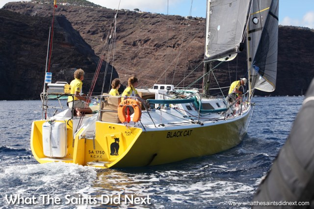 Black Cat approaching the finish line to win the St Helena Governor's Cup Yacht Race