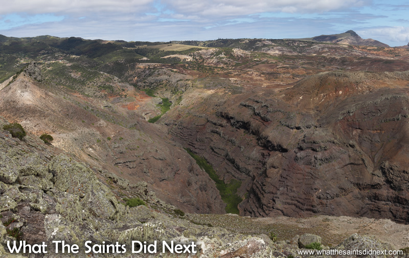 The amazing landscape of St Helena - looking inland with Sharks Valley running below.