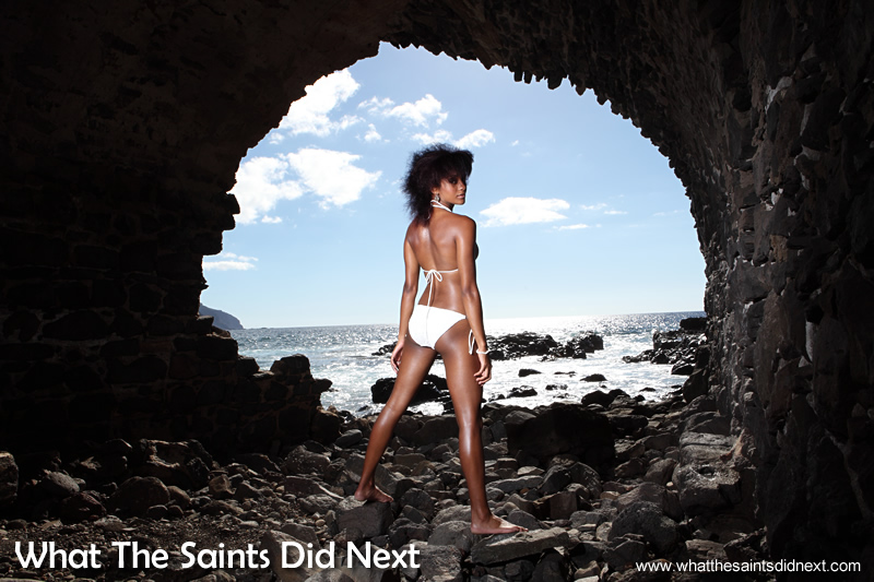 The Banks stonework provided a great frame. Bikini photo shoot at Banks Battery, St Helena.