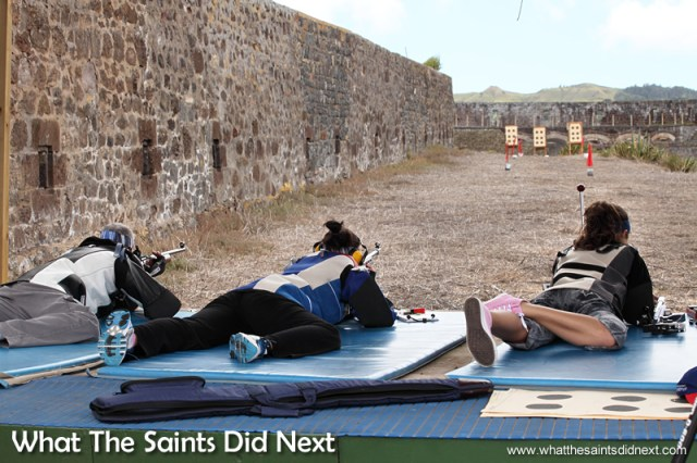 Pat, Kayleigh and Jodie, taking aim on the 50m range. Rifle Shooting On St Helena.
