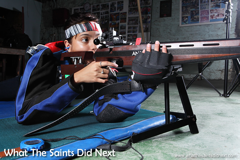 Chelsea demonstrating the prone postion on the Jamestown 25yd range. Rifle Shooting On St Helena.