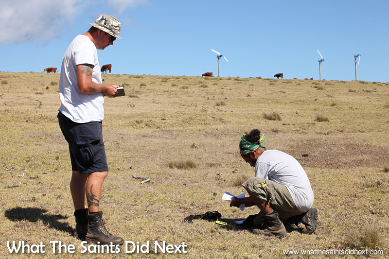 Kevin (left) and Denny recording findings of a thriving wirebird nest.