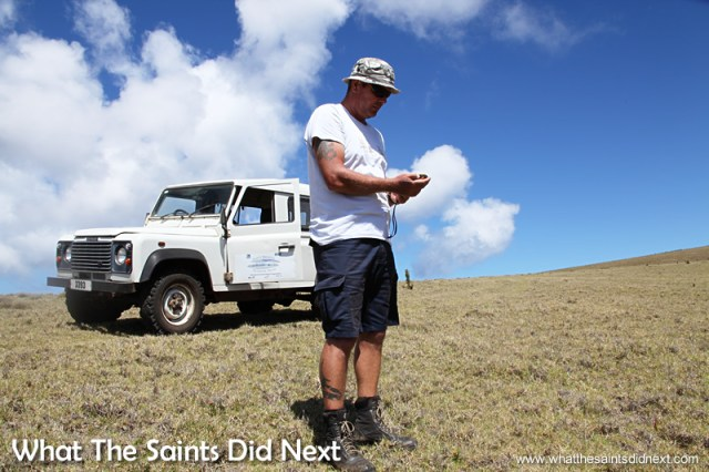 Checking GPS readings for the next nest location.