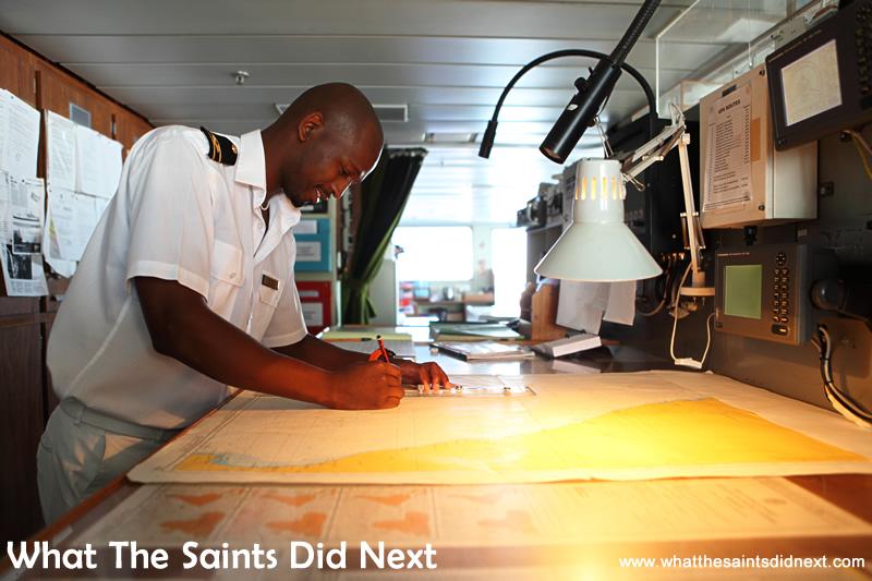 2nd Officer, Sivuyile Maliti checking the navigation on the bridge.