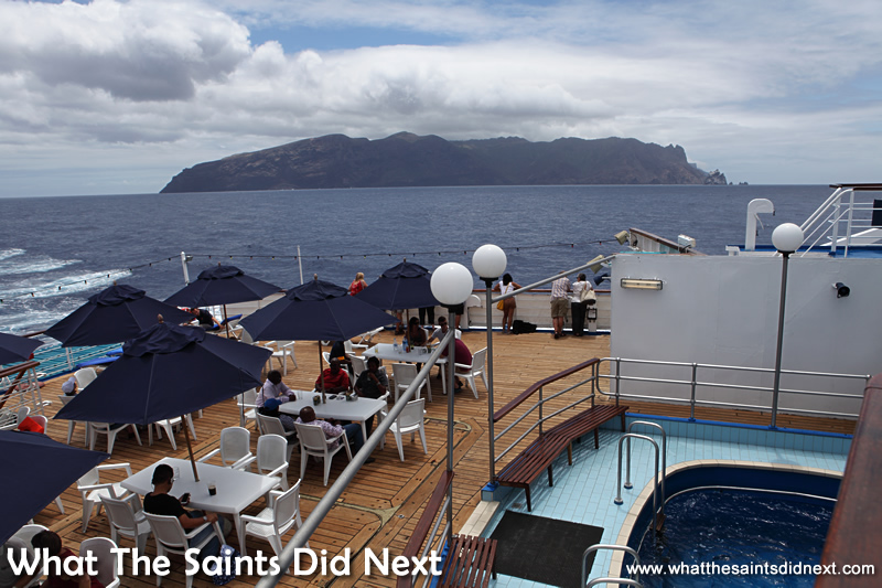 Our final view of St Helena. Voyage on the RMS St Helena.