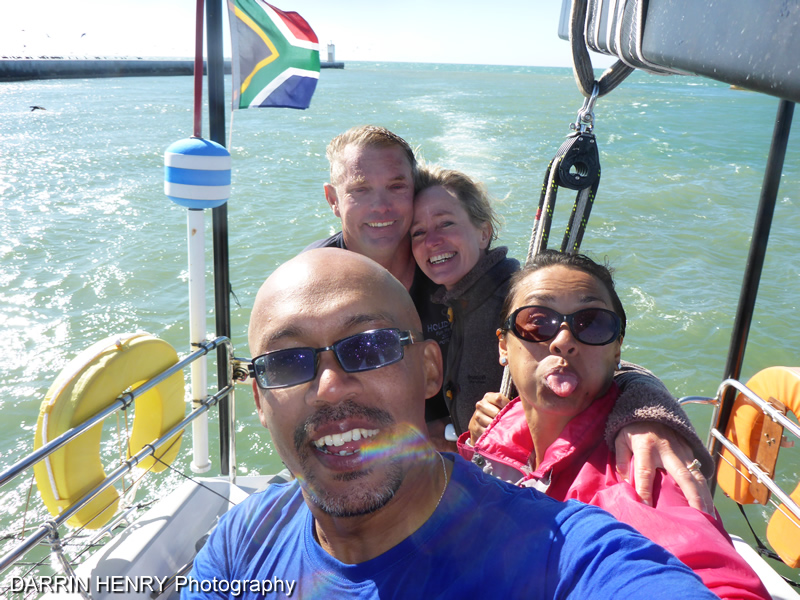 The group selfie as we sail into the harbour. What a great day sailing St Helena Bay.