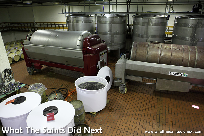 Wine equipment of the modern day, grapes are crushed in the two horizontal tanks, no more 'treading'.