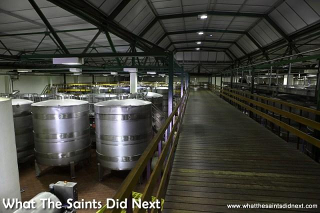 Inside the wine making warehouse.