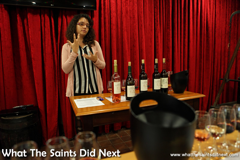 Inside the wine tasting room, Chantelle guides us through the process.