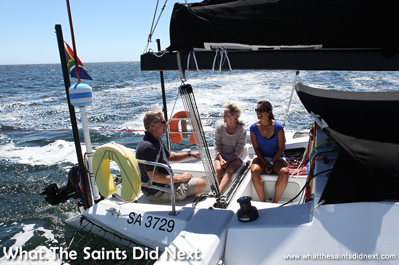 On the gentle first leg to the beach party, sailing St Helena Bay.