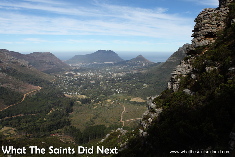 The view toward Hout Bay from Constantia Nek, hiking trails Cape Town.