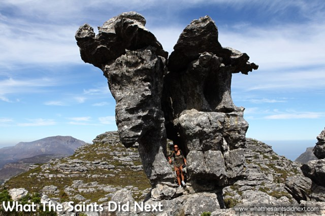 me posing on the other side of Camel Rock. Hiking The Table Mountain National Park.
