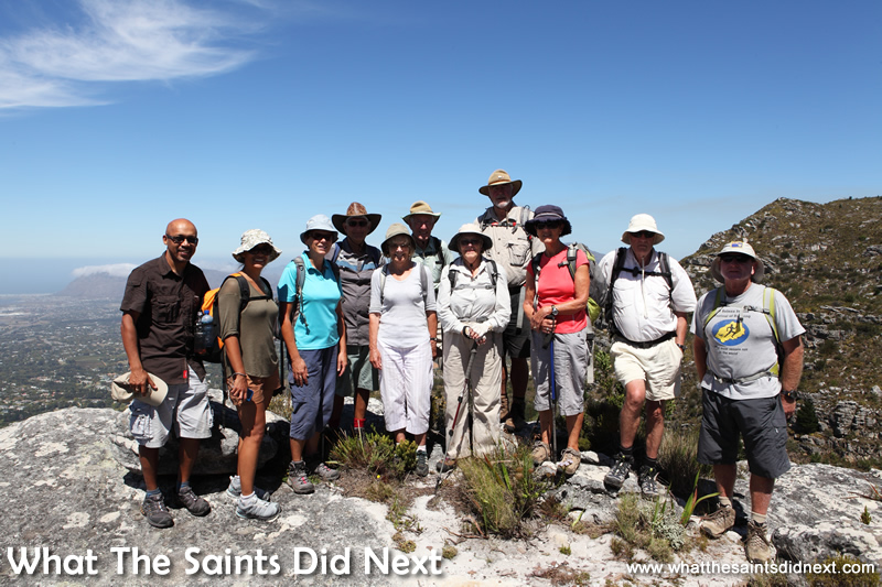 The Mountain Meanderers party at the summit of the Constantia Nek walk on the Table Mountain National Park.