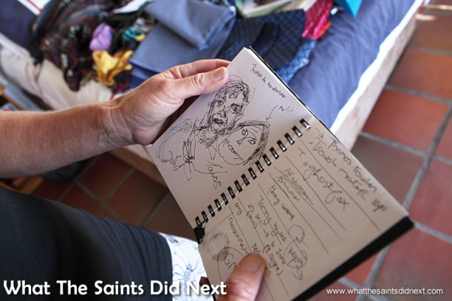 A peek inside the doodle book.