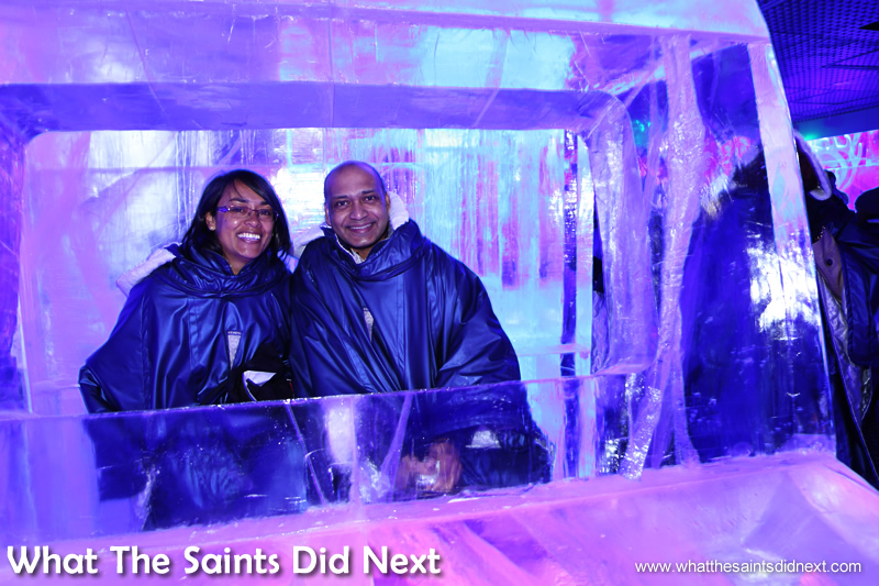 Me and Simon riding the coolest car in the world – literally. We queued to take photos with the ice sculptures.