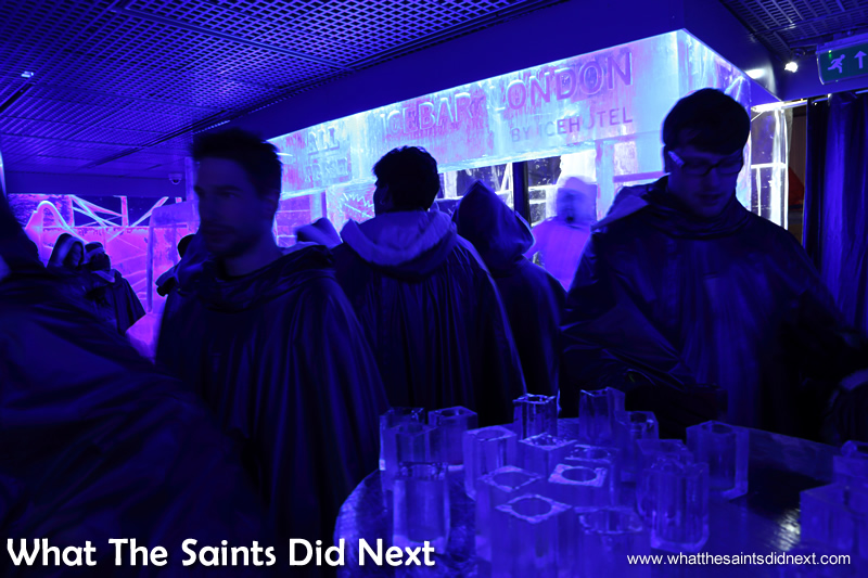 Like Eskimos all wearing the same outfit! Icebar London – Quite Literally The Coolest London Experience.