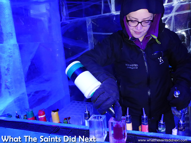 The Ice Bar London bartenders did a good job making tiny cocktails with bulky gloves. They got skills.
