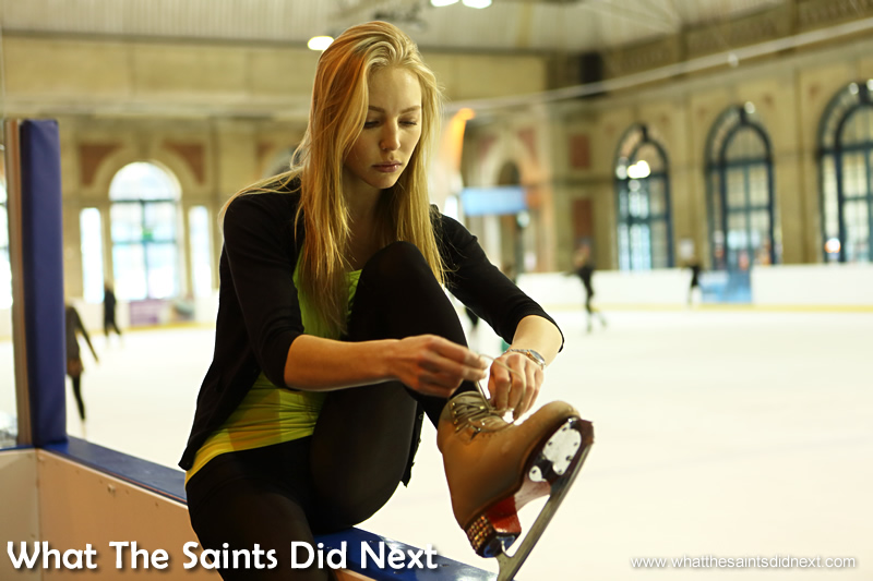 Lacing her skates; Maria has been doing this for 18 years. Ice Skating At Alexandra Palace.