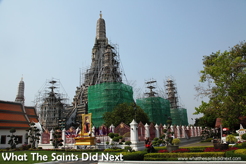Wat Arun was covered in scaffolding which spoiled the visit. Bangkok Long Tail Boat Tour.