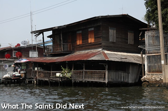 I'm sure all of this was straight when it was first built! Bangkok Long Tail Boat Tour.