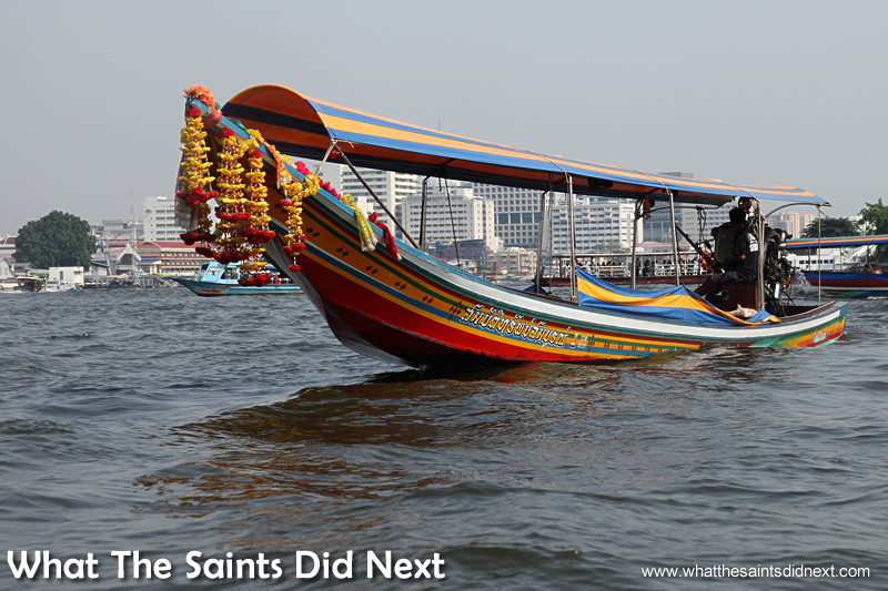 Bangkok long tail boat tours begin and end on the big Chao Phraya River.