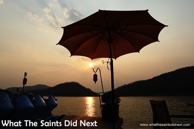 Sunset at the boathouse. Mountain Float - Thailand's Secret Holiday Hideaway.