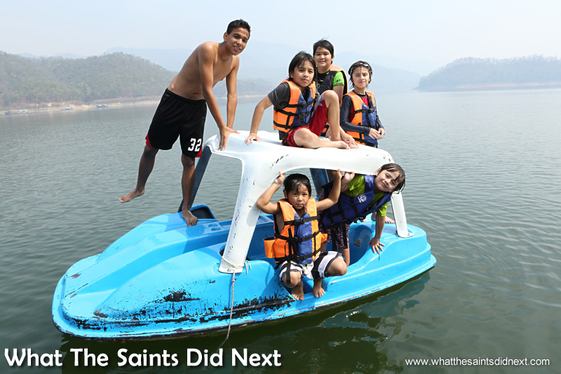 The tireless youngsters having fun with the water car. Mountain Float - Thailand's Secret Holiday Hideaway.