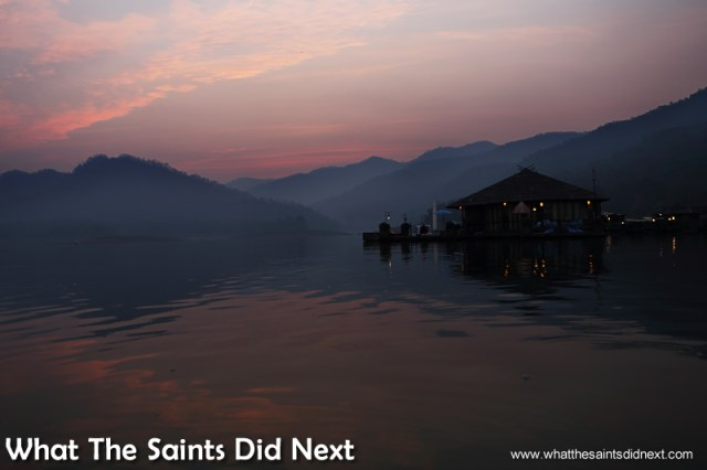 Our mountain boathouse at dawn. Mountain Float - Thailand's Secret Holiday Hideaway.