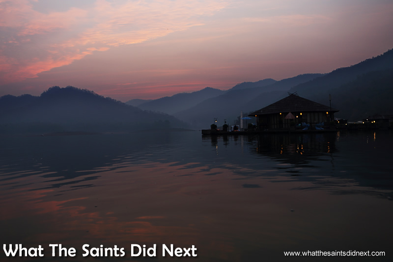 Our mountain boathouse at dawn.