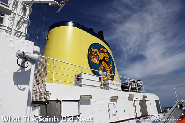 The iconic yellow funnel of the RMS St Helena.  Photographs of the RMS St Helena.
