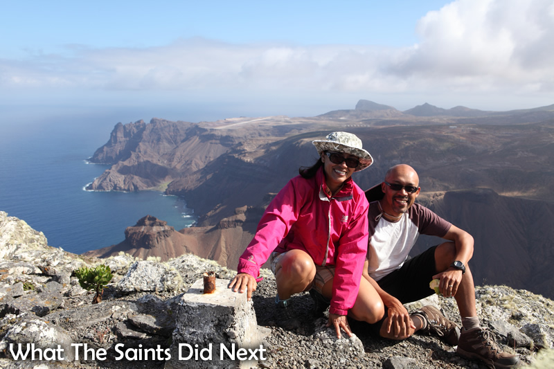 Sharon and Darrin Henry on top of 'The Barn,' one of the more difficult hikes on St Helena.