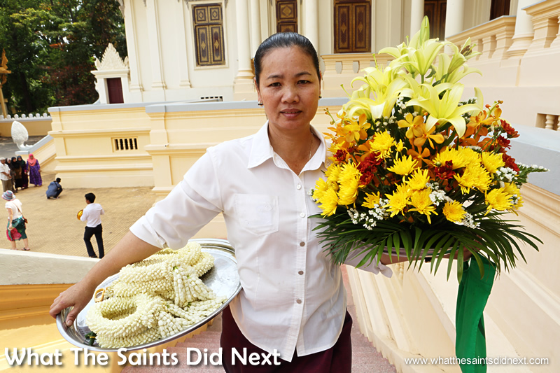 Flower arrangements on their way to The Throne Hall of the Royal Palace.