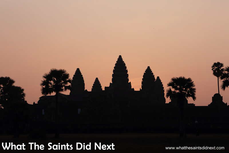 Plenty of patience required as we wait for 'Mr Sun.' Watching an Angkor Wat sunrise.