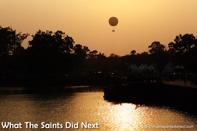 The hot air balloon seen from Angkor Wat - we photographed this at sunset the previous day.