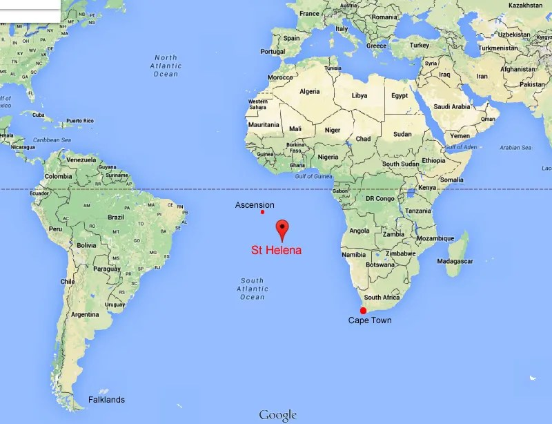 St Helena information – Map of St Helena, a tiny island, just 48 square miles in size, in the South Atlantic Ocean.