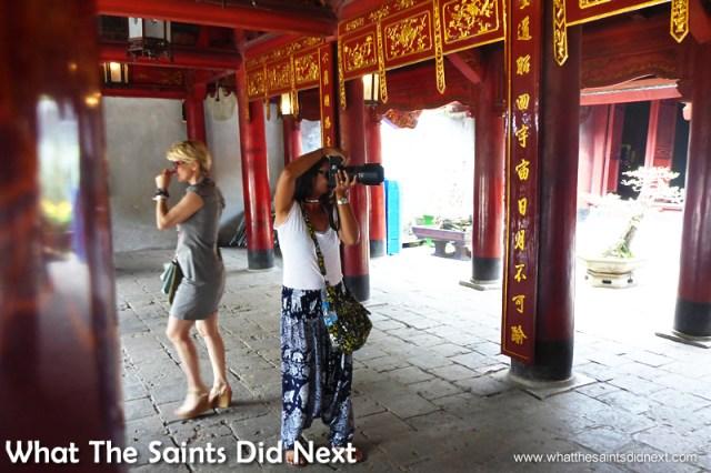 Sharon shooting inside the Temple of Literature, in Hanoi, Vietnam.