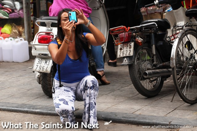 Sharon shooting with the compact in Hanoi, Vietnam.