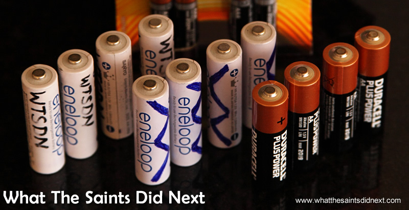 Some of the many batteries we lumped around - just in case!