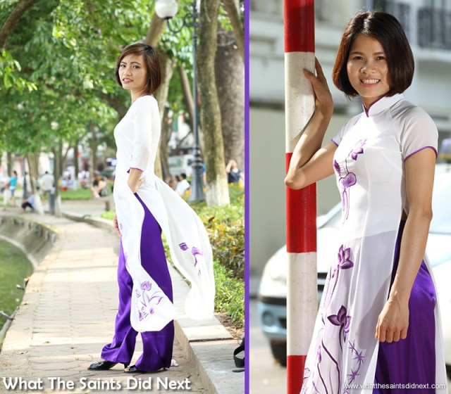 Both girls did a brilliant job showing off the áo dài.  The Ao Dai photoshoot in Hanoi.