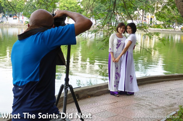 Behind the scenes at lakeside.  The Ao Dai photoshoot in Hanoi.