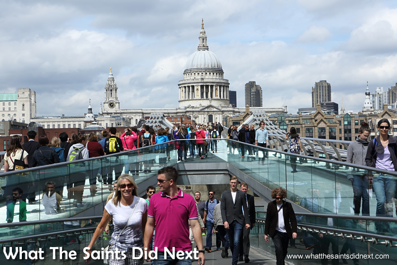 The stream of people on the Millennium Bridge is a cross section of the world's community.