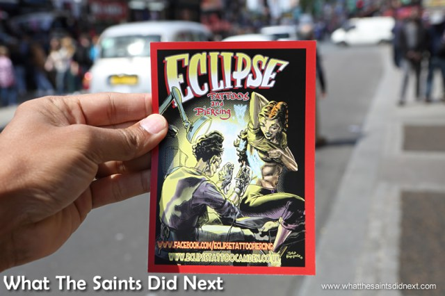 Leaflets are handed out on the street to tempt visitors into getting some ink.