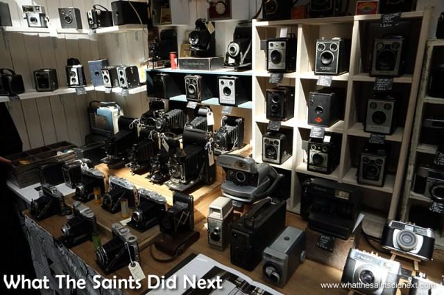 No photography! Vintage cameras on sale in Camden.