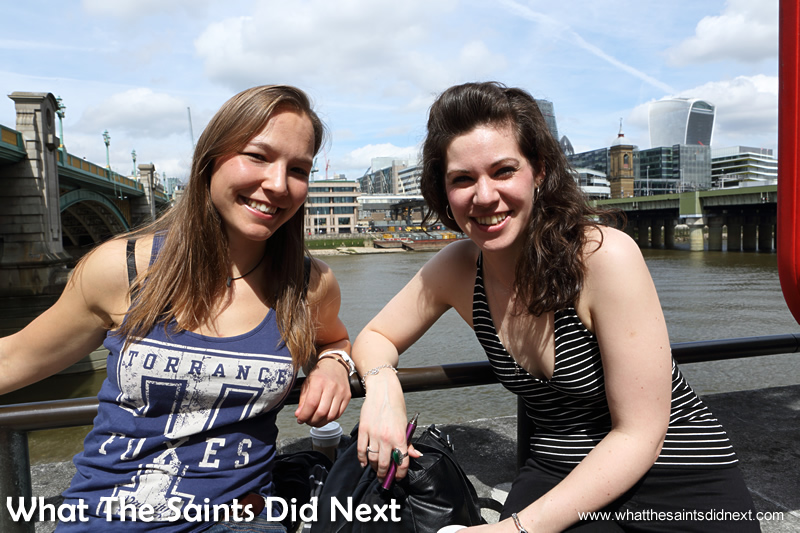 Celia and Kirsty. Victims of our street interviews in the city of London.