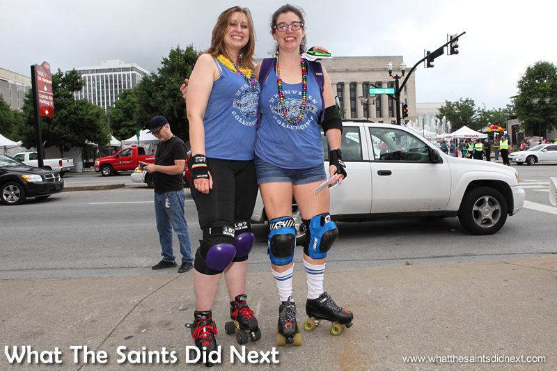 "Cathy (left) a skater in a roller derby team, has lived in Nashville for 5 years, originally from Louisiana. ""I absolutely believe in equality. I know a lot of people who have been affected by discrimination of this type and I really am glad about the ruling in Supreme Court yesterday and I just want to celebrate with all my friends. I cried a little when I read some of the ruling, it was beautifully written."""