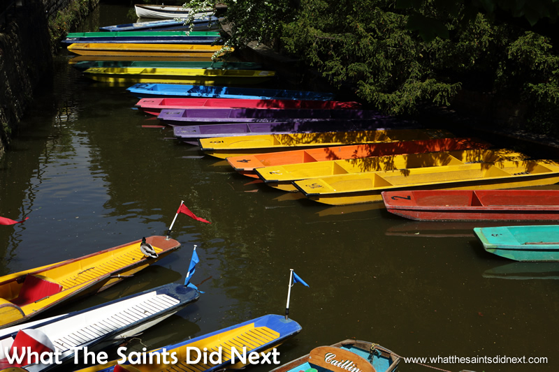 Boat hire Oxford punting lined up and ready for the summer tourists in the City of Dreaming Spires.