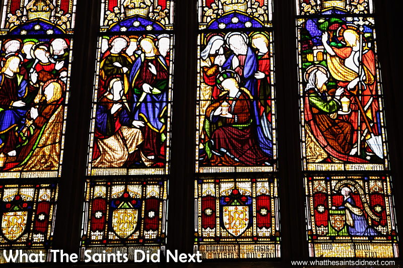 Some of the beautiful stained glass windows inside St Mary's.