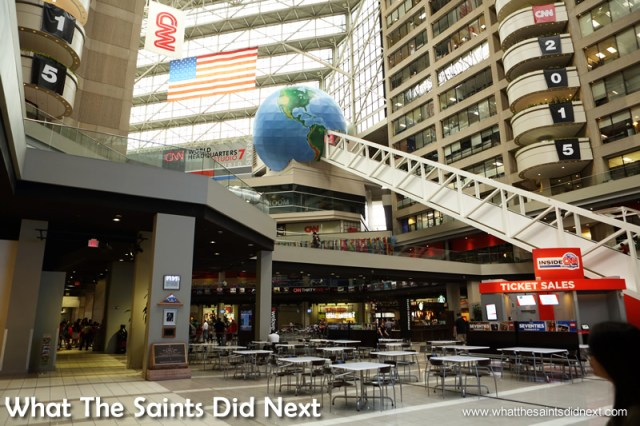 The world's longest unsupported escalator is hard to miss. The CNN Center in Atlanta, Georgia.